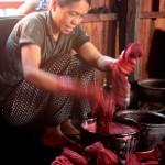woman red dye